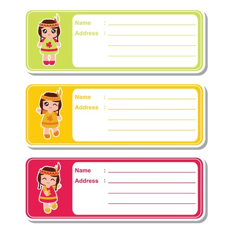 Vector cartoon illustration with cute Indian girls on colorful background suitable for kid address label design, address tag and printable sticker set Illustration