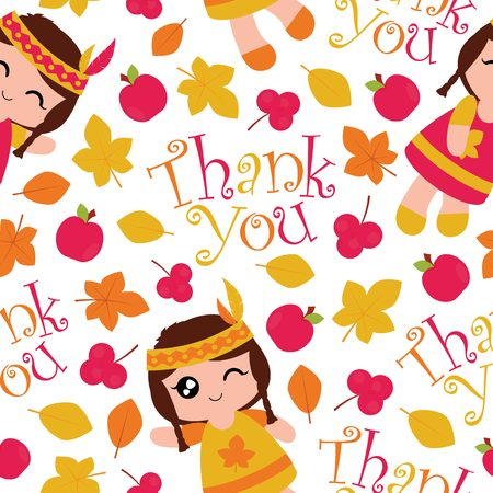 A Seamless pattern with cute Indian girls, apples and maple leaves vector cartoon suitable for thanksgiving wallpaper design, scrap paper and kid fabric clothes background