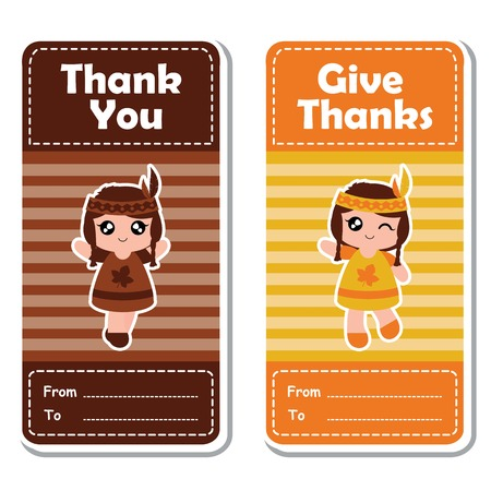 A Vector cartoon illustration with cute Indian girls on striped background suitable for happy thanksgiving's day label design, banner set and invitation card