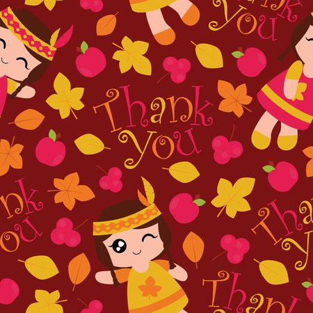 Seamless pattern with cute Indian girls, apples and maple leaves on red background vector cartoon suitable for thanksgiving wallpaper design, scrap paper and kid fabric clothes background