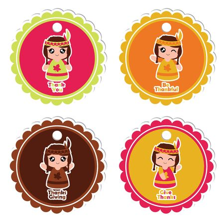 A Vector cartoon illustration with Indian girls on colorful frame character suitable for thanksgiving gift tag set design, thanks tag, and printable sticker set