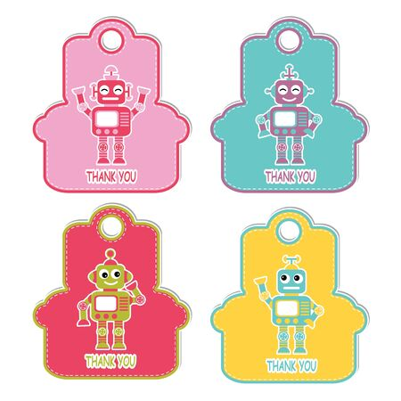 Vector cartoon illustration with robot boys on colorful frame character suitable for birthday gift tag set design, thanks tag, and printable sticker set