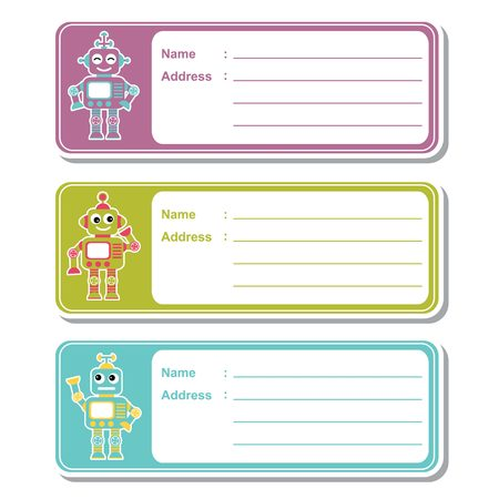 A Vector cartoon illustration with cute robot toys on colorful background suitable for kid address label design, address tag and printable sticker set Illustration
