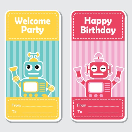 A Vector cartoon illustration with cute blue and red robots on striped background suitable for birthday label design, banner set and invitation card