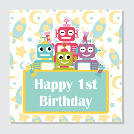 Vector cartoon illustration with cute robots on rocket background suitable for birthday invitation card design, backdrop and wallpaper Illustration