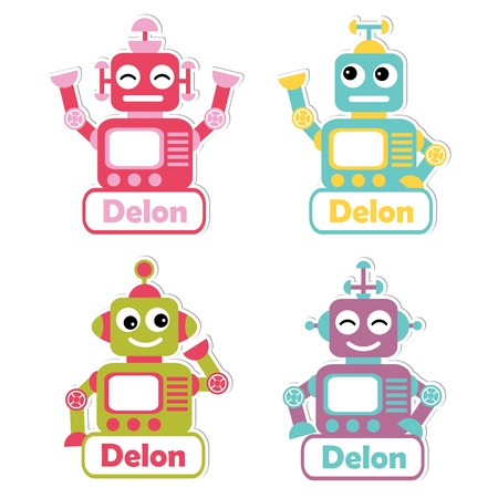 Vector cartoon illustration with colorful robot toys suitable for kid name tag set design, label name, and printable sticker set Illustration