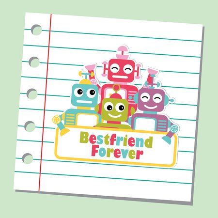 Vector cartoon illustration with cute robots on paper note background suitable for friendship card design, backdrop and wallpaper