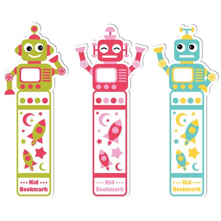 A Vector cartoon illustration with cute colorful robots, rocket and stars suitable for kid bookmark label design, bookmark tag and sticker set