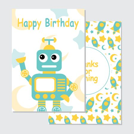 Vector cartoon illustration with cute blue robot on rocket background suitable for birthday invitation card design, backdrop and wallpaper