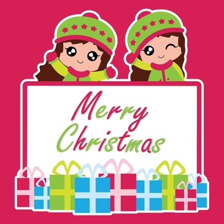 A Vector cartoon illustration with cute two girls and box gifts suitable for Christmas card design, season greeting and postcard