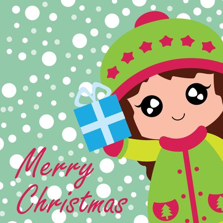 A Vector cartoon illustration with cute girl brings Xmas box gift suitable for Christmas card design, season greeting and postcard. Illustration