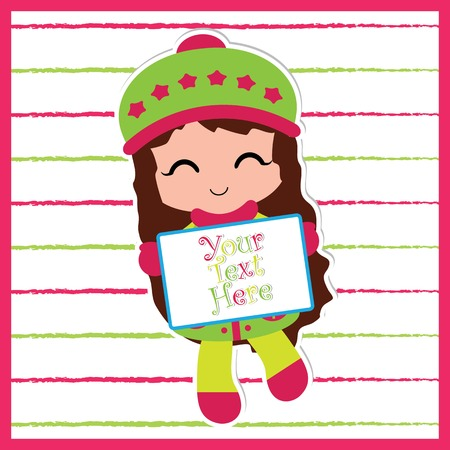 Vector cartoon illustration of a cute girl with sign where you can put your text