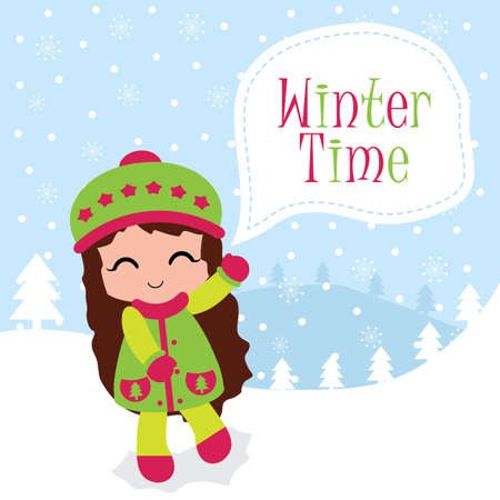 Winter time greeting card design vector with cute girl