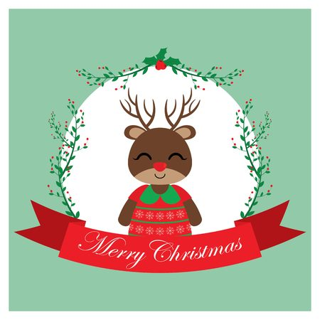 Vector cartoon illustration with cute reindeer girl on red berry wreath suitable for Christmas card design, season greeting and postcard Illustration