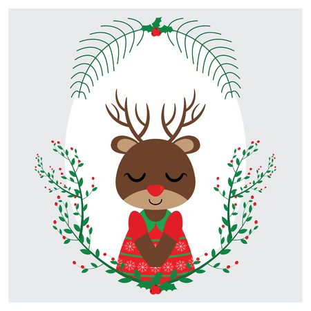 Vector cartoon illustration with cute reindeer girl sleeps on red berry frame suitable for Christmas card design, season greeting and postcard