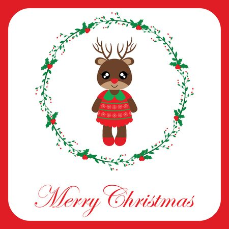 Vector cartoon illustration with cute reindeer girl in red berry wreath on red border suitable for Christmas card design, season greeting and postcard
