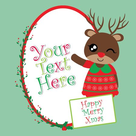 Vector cartoon illustration with cute reindeer girl on red berry text frame suitable for Christmas card design, season greeting and postcard
