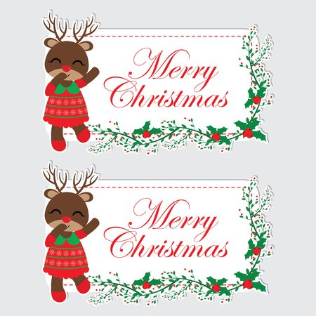 Vector cartoon illustration with cute reindeer girl is happy and red berry text frame suitable for Christmas label design, season greeting and Xmas tag