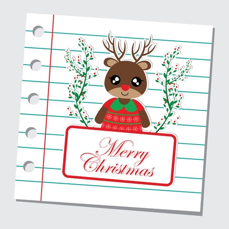 Vector cartoon illustration with cute reindeer girl in red berry wreath on paper note background suitable for Christmas card design, season greeting and postcard