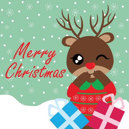 Vector cartoon illustration with cute reindeer girl with Xmas gift boxes suitable for Christmas card design, season greeting and postcard Illustration