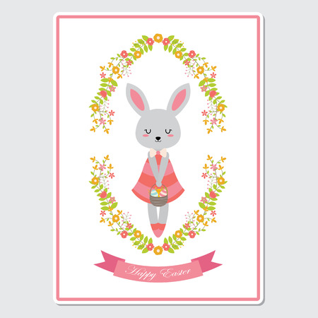 Vector cartoon illustration with cute bunny girl on flowers wreath suitable for happy Easter card design, Invitation card, and greeting card