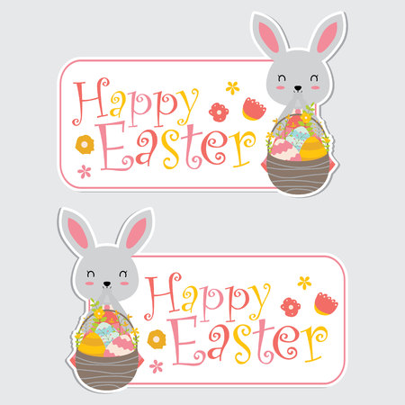 Vector cartoon illustration with cute bunny girl and colorful eggs on basket suitable for happy Easter label design, banner set and invitation card Illustration