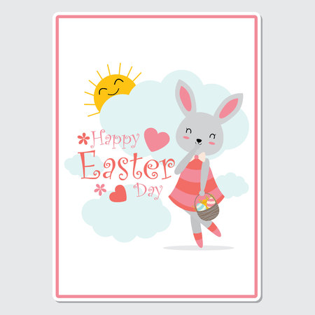 Vector cartoon illustration with cute bunny girl brings a basket of egg suitable for happy Easter card design, Invitation card, and greeting card