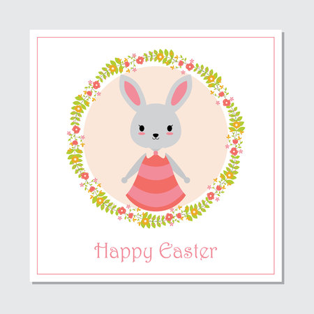 Vector cartoon illustration with cute bunny girl on circle flower wreath suitable for happy Easter card design, Invitation card, and greeting card Illustration