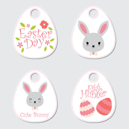 Vector cartoon illustration with cute bunny, eggs, and flowers suitable for happy Easter gift tag set design, thanks tag, and sticker set