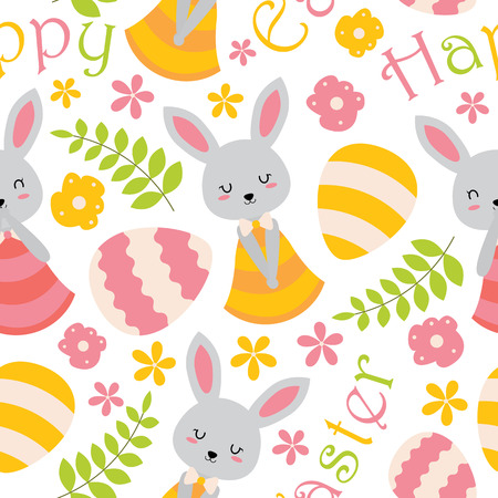 Seamless pattern with cute bunny, flowers and eggs vector cartoon suitable for Easter wallpaper design, scrap paper and kid fabric clothes