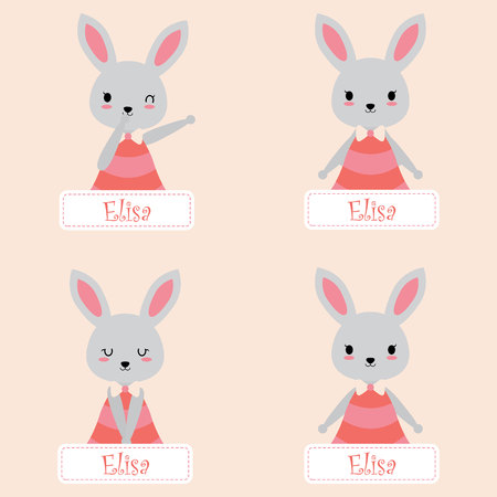 Vector cartoon illustration with cute bunnies suitable for kid name tag set design, label name, and sticker set Illustration