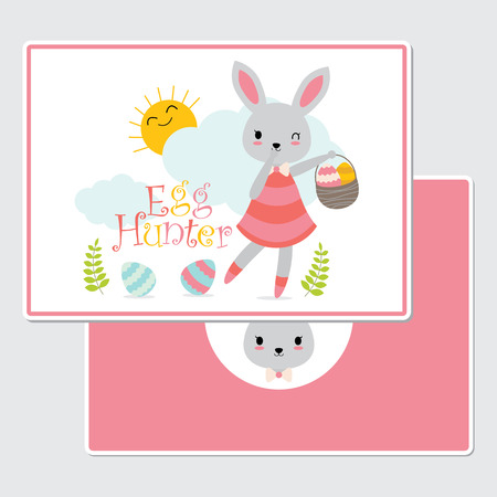 Vector cartoon illustration with cute bunny girl as egg hunter suitable for happy Easter card design, Invitation card, and greeting card Illustration
