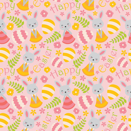 Seamless pattern with cute bunny, flowers and eggs on pink background vector cartoon suitable for Easter wallpaper design, scrap paper and kid fabric clothes Illustration