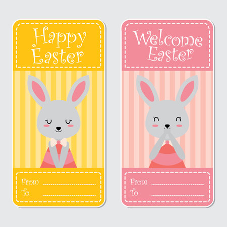 Vector cartoon illustration with cute bunny girl suitable for happy Easter card design, Invitation card, and greeting card