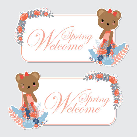 Vector cartoon illustration with cute bear girl and flower border suitable for Sprig label design, banner set and invitation card