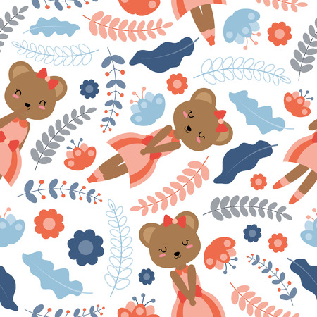 Seamless pattern with cute bear and flowers vector cartoon suitable for Spring wallpaper design, scrap paper and kid fabric clothes