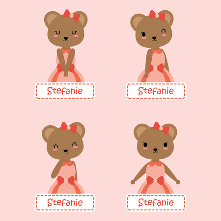 Vector cartoon illustration with cute bear suitable for kid name tag set design, label name, and sticker set Illustration