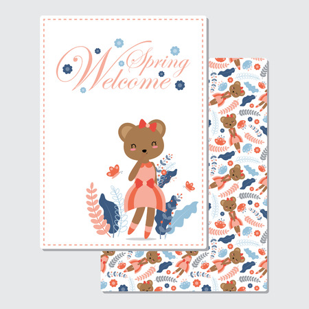 Vector cartoon illustration with cute bear girl smiles suitable for Spring card design, Invitation card, and greeting card