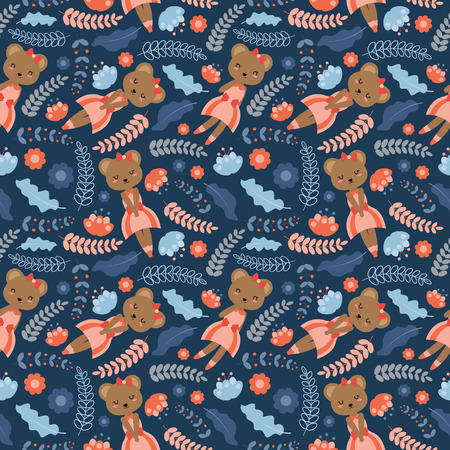 Seamless pattern with cute bear and flowers on dark background vector cartoon suitable for Spring wallpaper design, scrap paper and kid fabric clothes Illustration