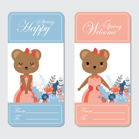 Vector cartoon illustration with cute bears suitable for Spring card design, Invitation card, and greeting card Illustration