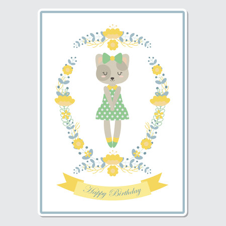 Vector cartoon illustration with cute cat girl on flower wreath suitable for Birthday card design, Invitation card, and greeting card