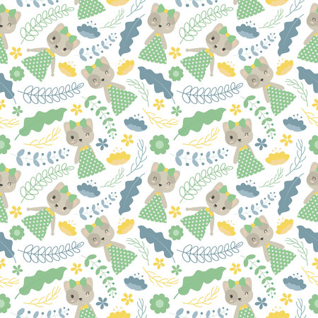 Seamless pattern with cute cat and flowers vector cartoon suitable for wallpaper design, scrap paper and kid fabric clothes