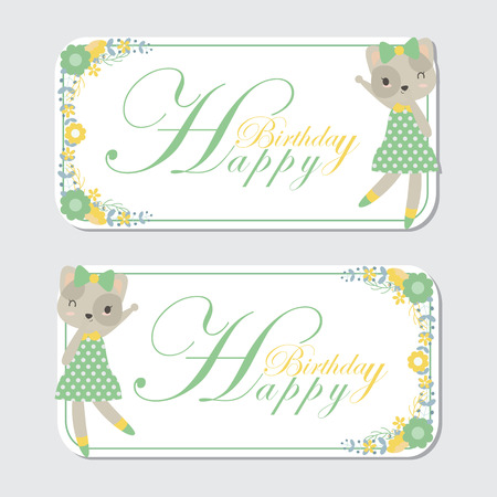 Vector cartoon illustration with cute cat and flower border suitable for birthday label design, banner set and invitation card