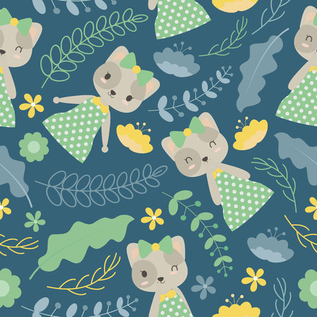Seamless pattern with cute cat and flowers on blue dark background vector cartoon suitable for wallpaper design, scrap paper and kid fabric clothes Illustration