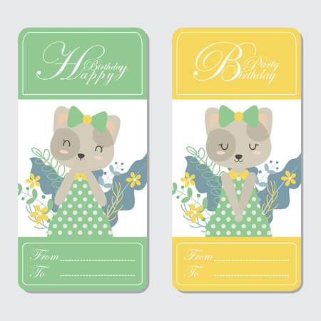 Vector cartoon illustration with cute cat and flowers suitable for Birthday card design, Invitation card, and greeting card Illustration