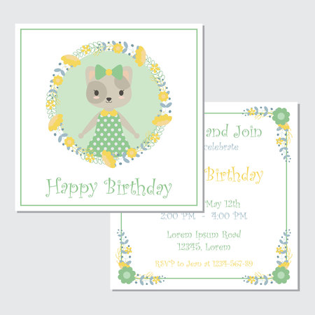 Vector cartoon illustration with cute cat and flowers wreath suitable for Birthday card design, Invitation card, and greeting card