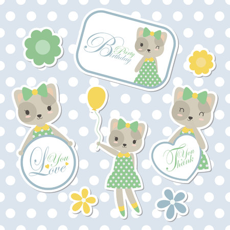 Vector cartoon illustration with cute cat suitable for kid sticker set design and gift tag