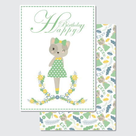 Vector cartoon illustration with cute cat smiles suitable for Birthday card design, Invitation card, and greeting card