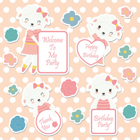 Vector cartoon illustration with cute sheep and flowers suitable for kid sticker set design and gift tag