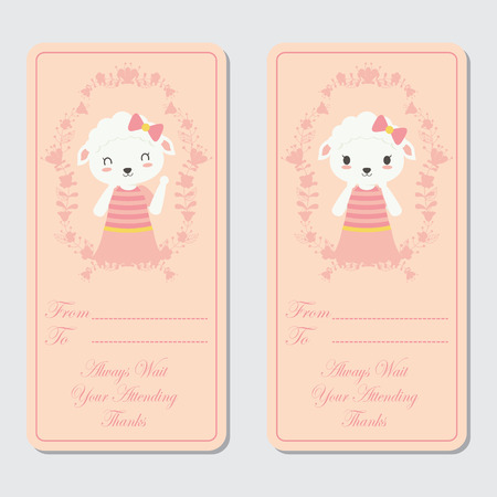 Vector cartoon illustration with cute sheep on flower wreath suitable for birthday label design, banner set and invitation card